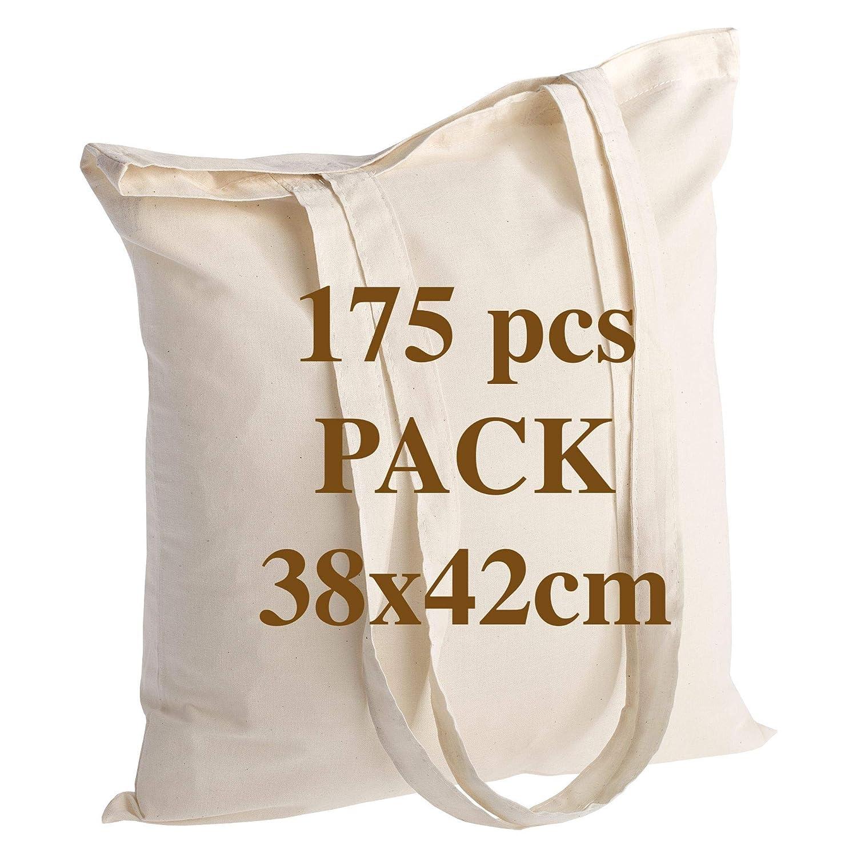 270 g tama/ño 35 x 36 x 9 cm asa 63 cm POLHIM Bolsa de algod/ón de Calidad de Polihim 10 Unidades 100/% algod/ón Natural