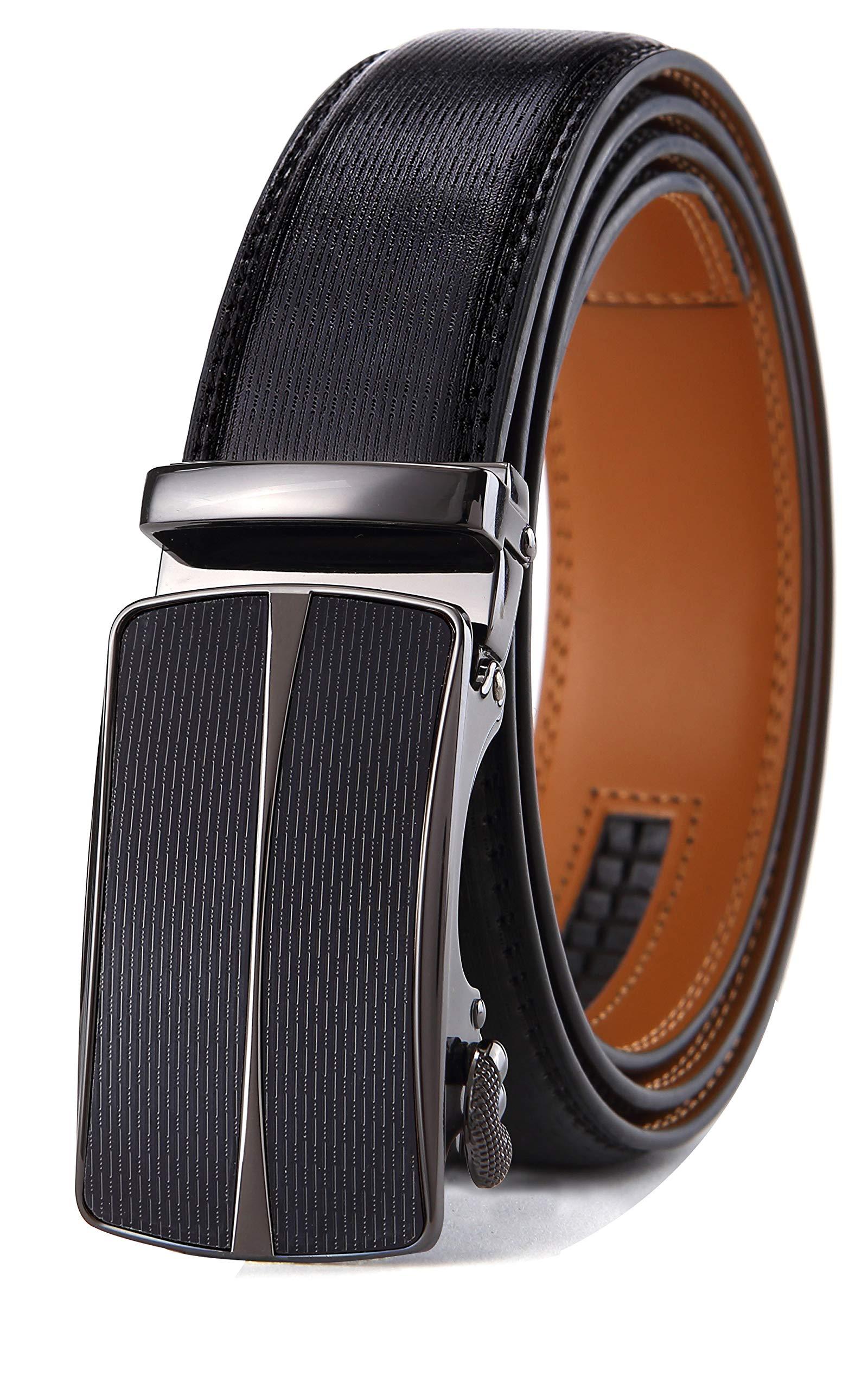 Men's Belt,Bulliant Leather Ratchet Belt for Men 1 3/8,Designed Buckle,Trim to Fit