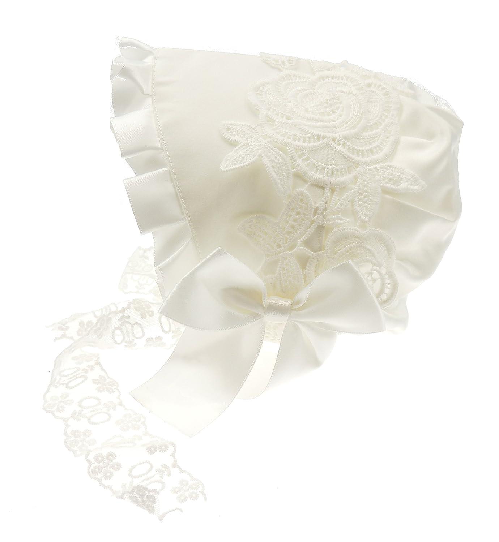 Superbe de Luxe brodée Blanc satiné bébé Fille garçon baptême Formelle Occasion Bonnet Chapeau de Soleil Blanc Blanc X-Small/0-3 Mois Glamour Girlz