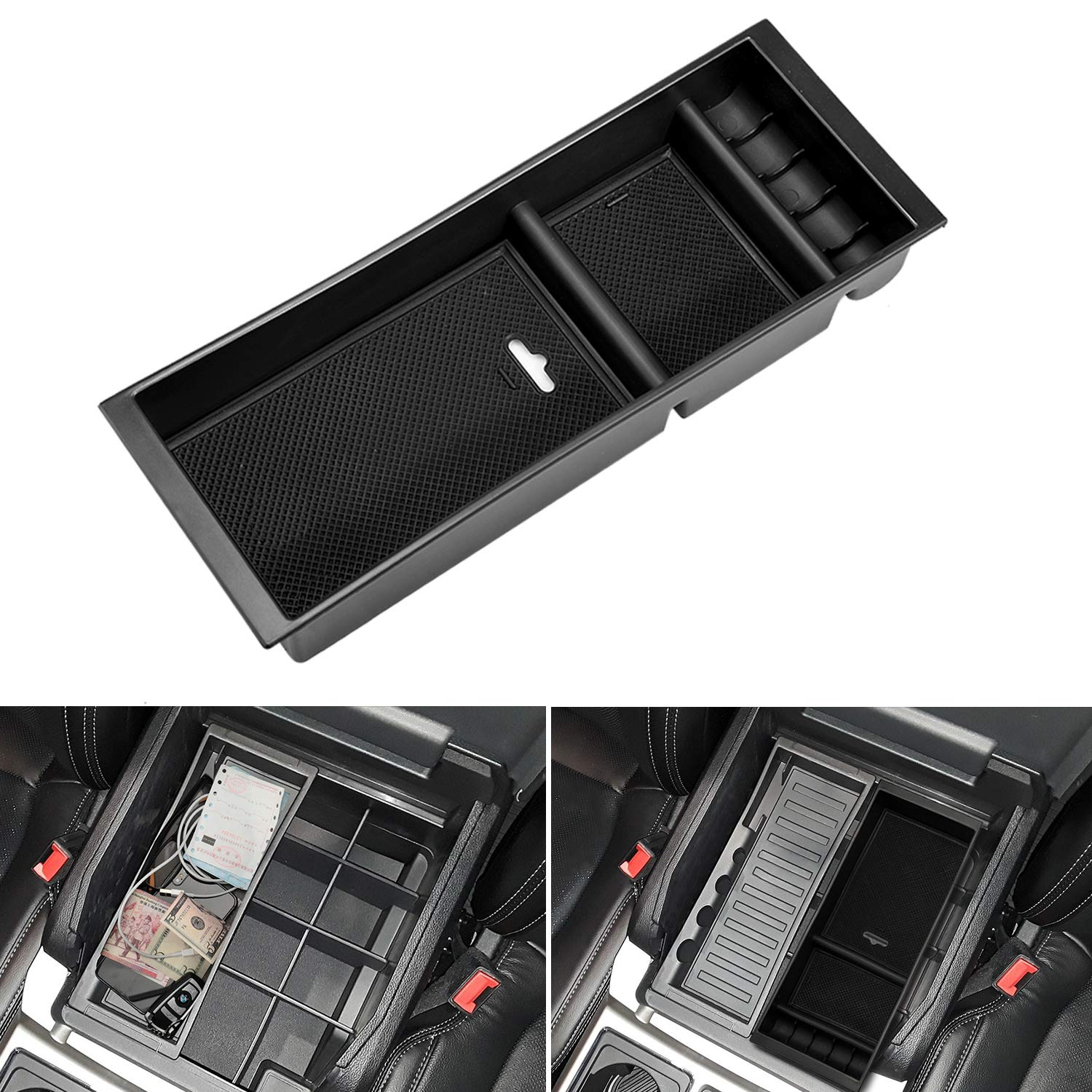 Seven Sparta Center Console Organizer for Ford Rapter f150 2015-2018 Insert ABS Tray Armrest Secondary Storage Box