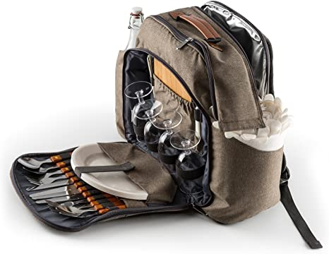 KLARSTEIN Halford Mochila de Picnic (Bolsa térmica integrada, Material Resistente, Incluye Platos y Cubiertos para 4 Personas, Tabla Cortar, ...