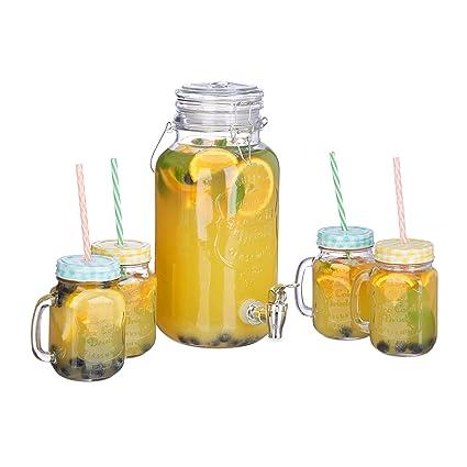 Relaxdays – Dispensador de Bebidas Set, 4 L, 4 Vasos, Grifo, Retro