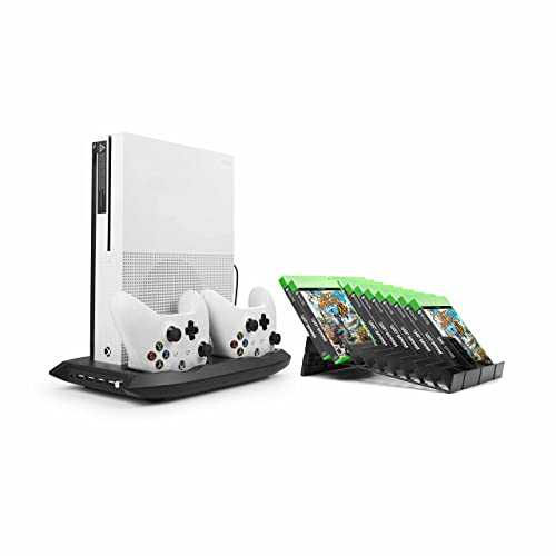 Younik XB-06 Xbox One S Vertical Stand Cooling Fan, Dual Controllers Charging Station, 18 Slots Game Storage and 4 Ports USB Hub. The 4-in-1 Cooler for your XBOX ONE S