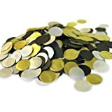 """Biodegradable Paper Confetti for Holiday, Anniversary, Birthday, Graduation, Wedding, Bridal & Baby Parties. 1"""" Circles (30 grams) (Black/Gold/Silver)"""