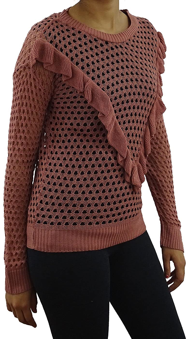 Juniors Long Sleeve Mesh Pullover Sweater with V Ruffle