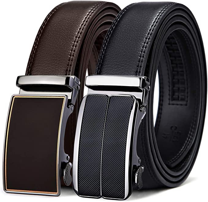 Mens Belt,West Leathers Slide Ratchet Belt for Men with Genuine Leather Perfect Fit Waist Size up to 44 inches 2 Pack