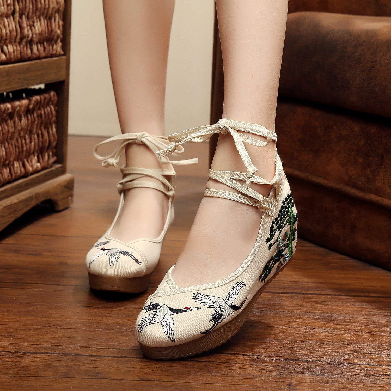 Eeayyygch Bestickte Schuhe Leinen Sehnensohle Ethno-Stil  Erhöhte Damenschuhe Mode bequem lässig beige 38 (Farbe  Ethno-Stil  - Größe   -) 8761c0