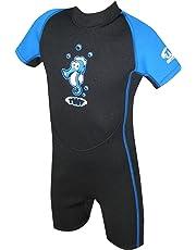 TWF Muta da nuoto per bambino, motivo: cavalluccio marino, colore blu, taglia 3-4 anni