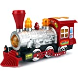 Steam Train Locomotive Engine Car Bubble Blowing Bump & Go Battery Operated Toy Train w/ Lights & So
