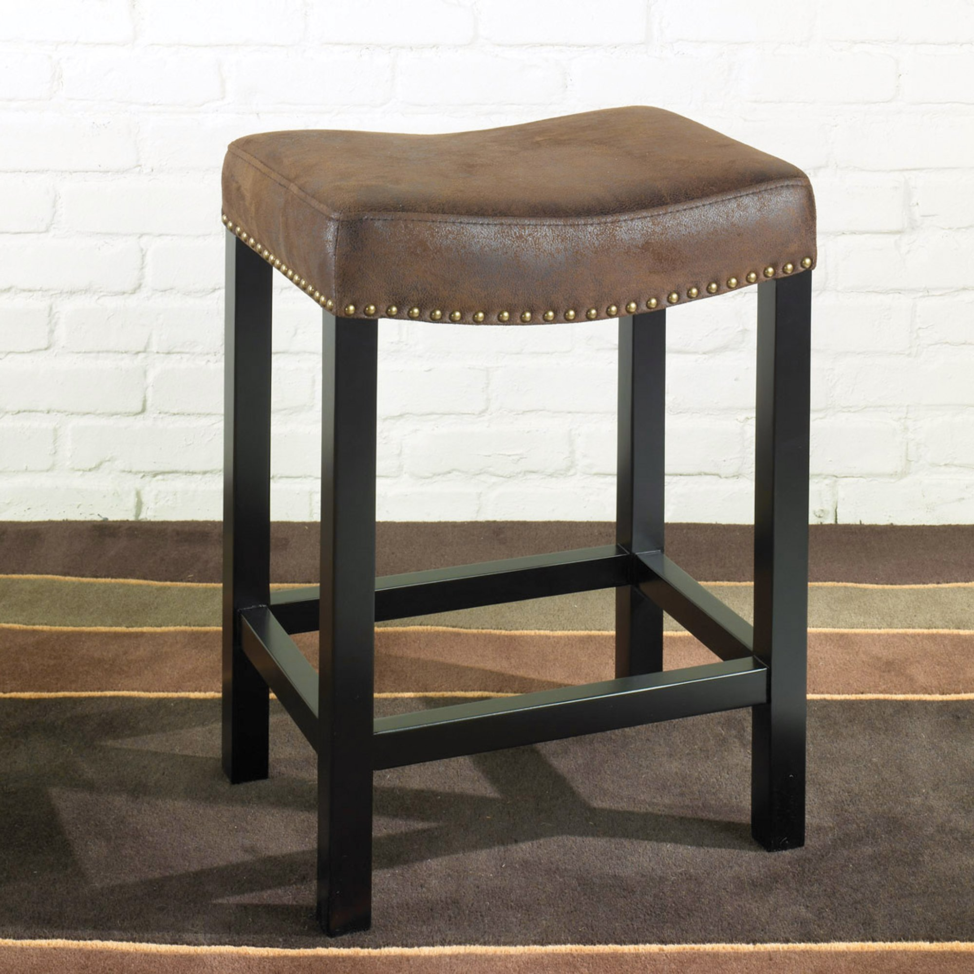 Armen Living LCMBS013BAWR26 Tudor 26'' Counter Height Barstool in Brown Fabric and Black Wood Finish