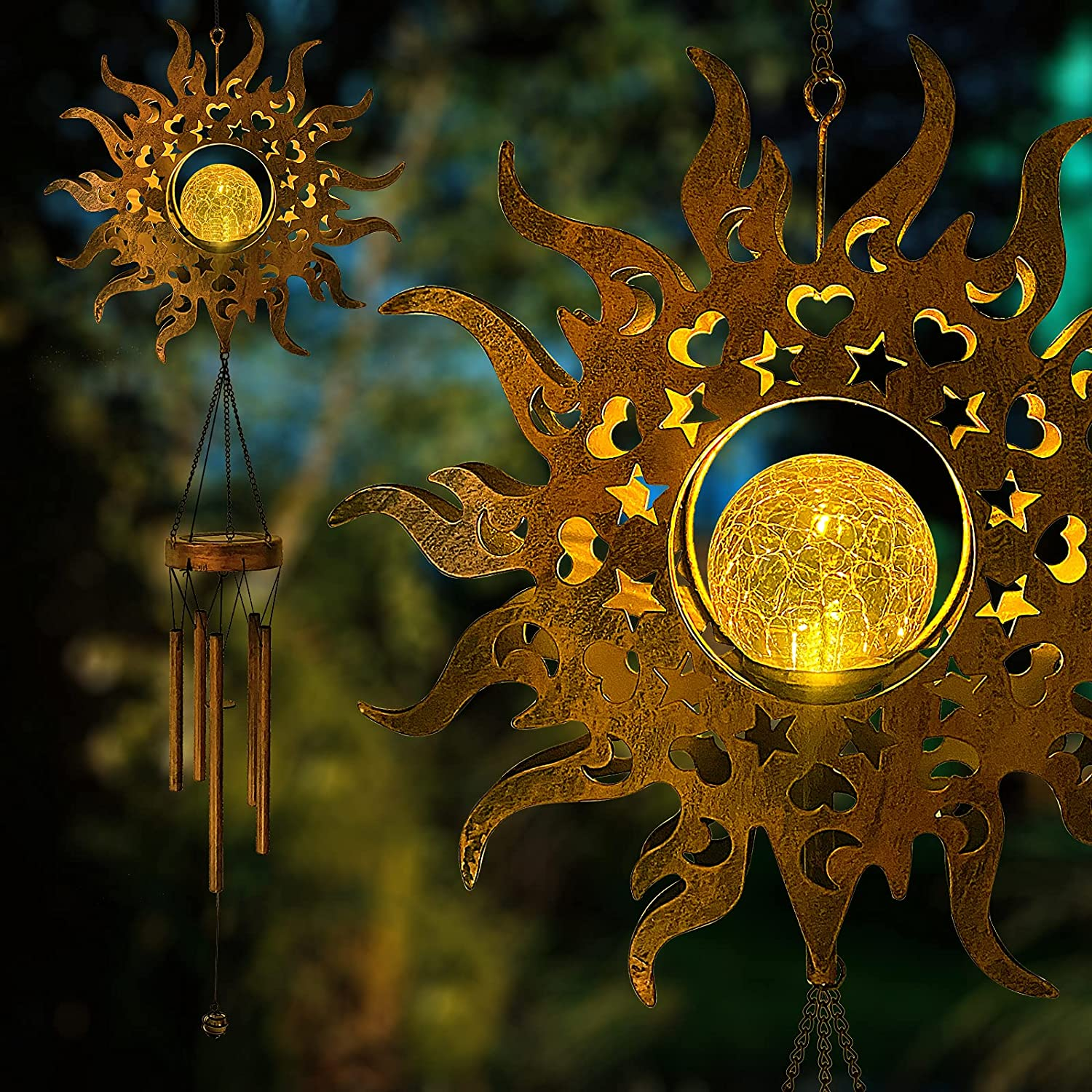 Solar Wind Chimes Outdoor Light - Hanging Sun Crackle Glass Ball Warm LED Waterproof Memorial Wind Chimes with Metal Tubes, Unique Sympathy Gift for Mom Women, Musical Decor for Garden Yard Porch
