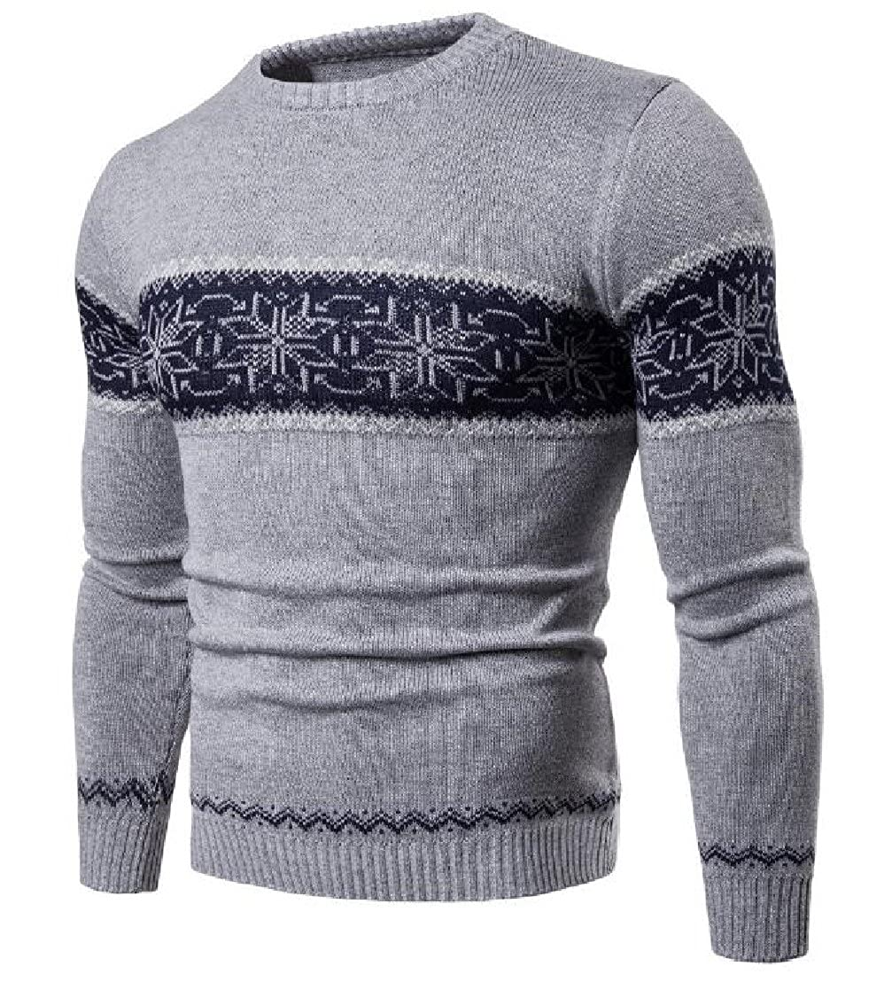CrazyDayMen Stylish Knitting Crewneck Color Conjoin Spring//Autumn Pullover Sweater