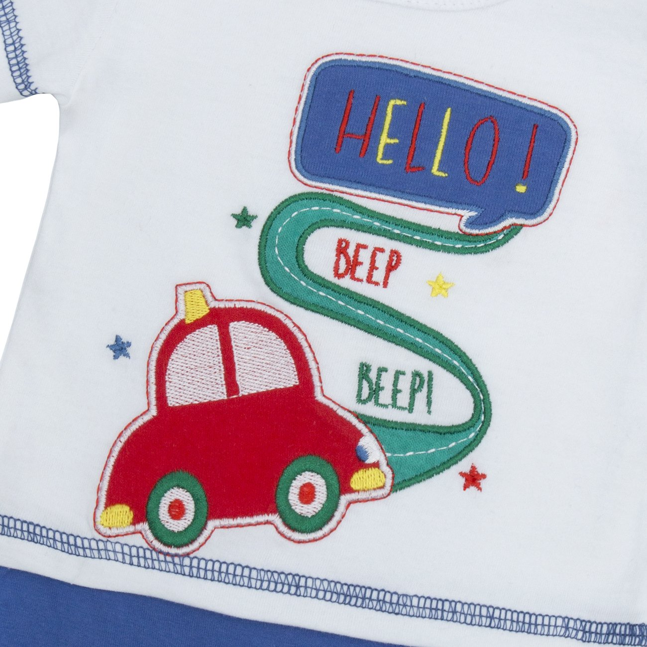 Baby Town Baby Boys Car Print Top and Shorts Romper Sleepsuit