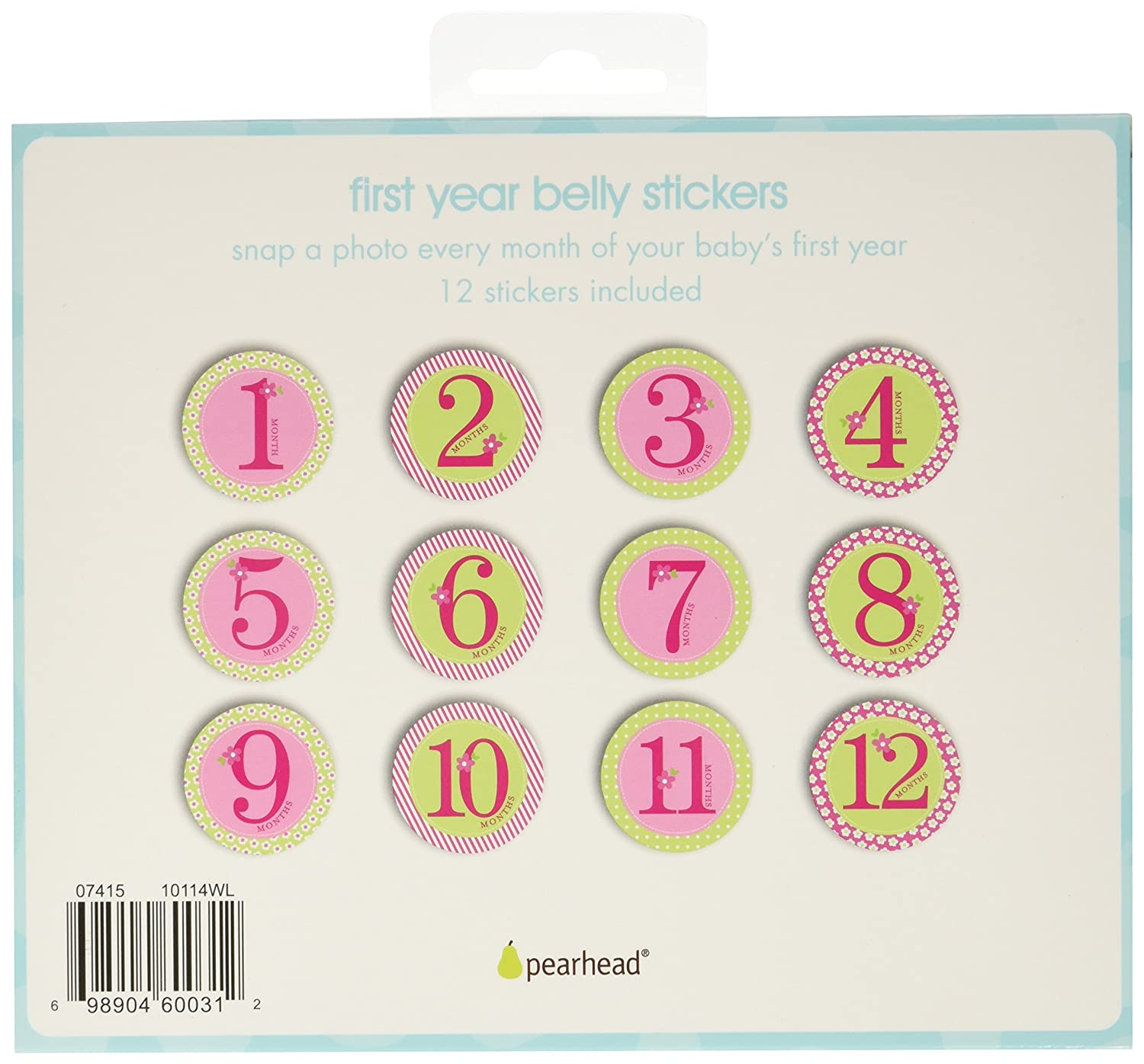 Pearhead First Year Monthly Milestone Felt Animal Photo Sharing Baby Belly Stickers 1-12 Months