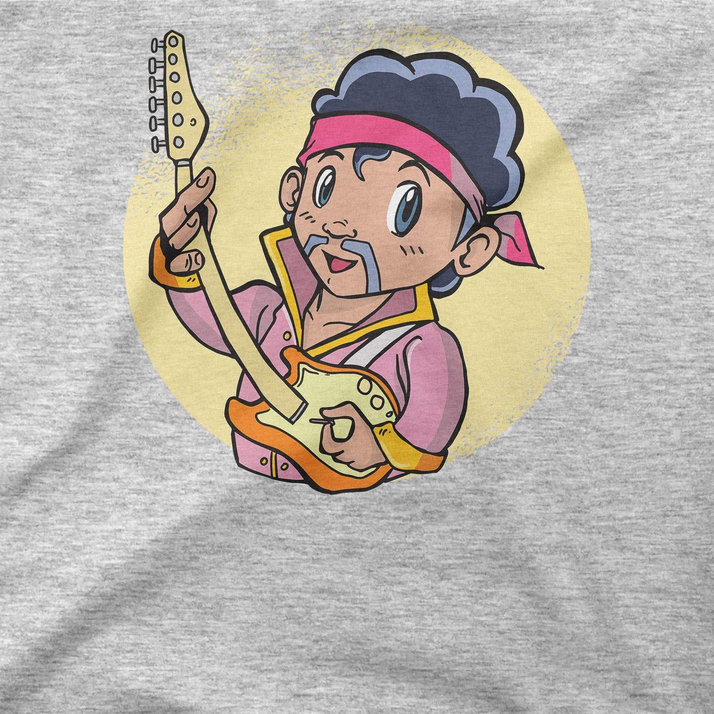 BLAK TEE Uomo Cute Guitar Rockstar Jimi Illustration Maglia a Maniche Lunghe