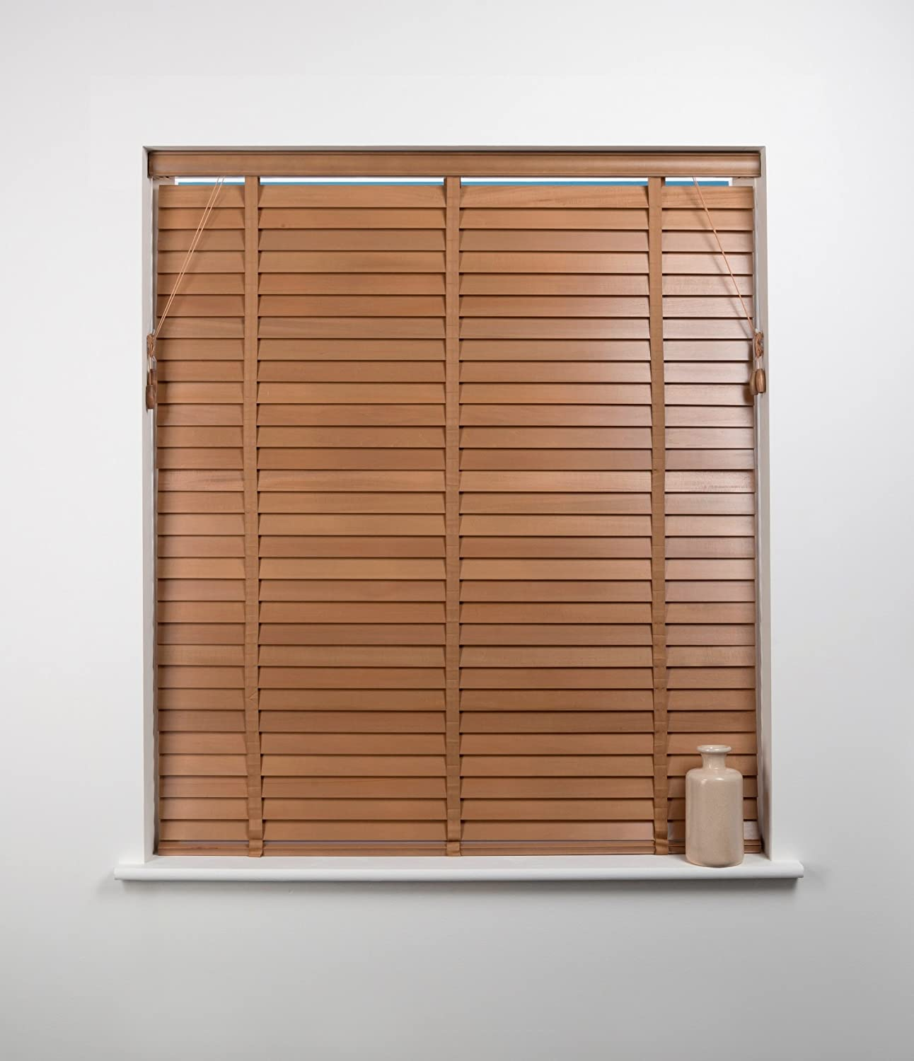 50mm Wood Venetian Blind, Oak, 60cm Wide x 160cm Drop Sunflex