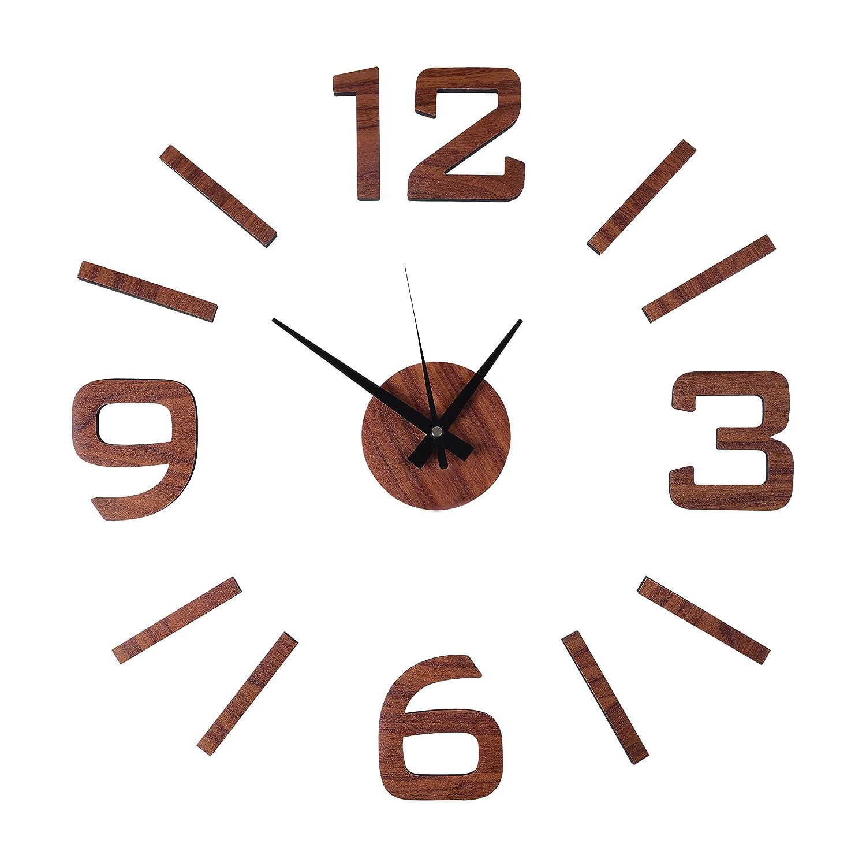 amazon com aura modern diy 3d wall clock home decoration sticker amazon com aura modern diy 3d wall clock home decoration sticker room decor wood finish home kitchen