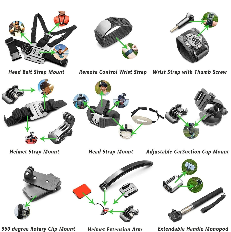 Accessory Kit(212 in 1) for Gopro Hero 7 6 5 4 3+ 3 2 1 Hero Session 5 Black Akaso Ek7000 Apeman Sj4000 5000 6000 Dbpower AKASO VictSing Wimius Rollei Qumox Lightdow Campark Sony Sport DV with Case by Gogolook (Image #5)