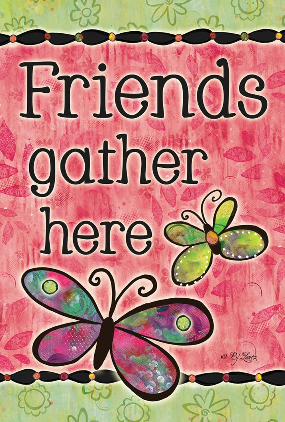 Toland Home Garden Friends Gather Here 12.5 x 18 Inch Decorative Colorful Spring Butterfly Double Sided Garden Flag
