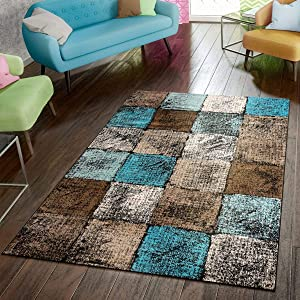"Paco Home Area Rug for Living Room in Brown Cream Turquoise Checked Modern Style Good Value, Size:3'11"" x 5'7"""