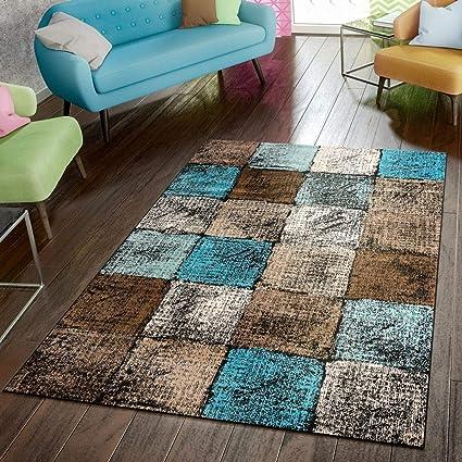 Amazon De Paco Home Designer Teppich Wohnzimmer Ausgefallene Farbkombination Karo Turkis Braun