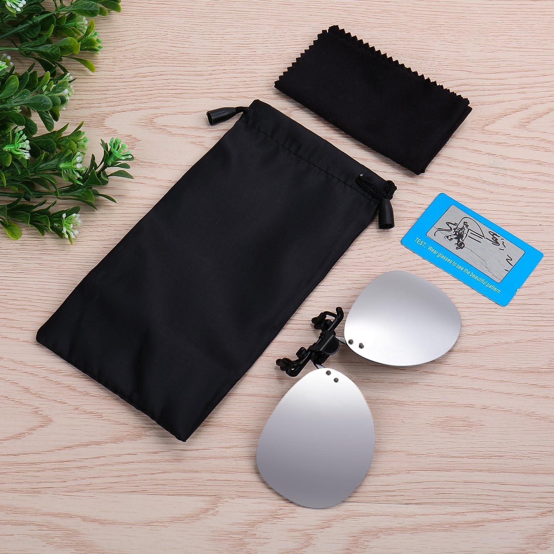 Costyle Silver Mirror Polarized Clip-On Flip Up Plastic Sunglasses For Myopia Gl