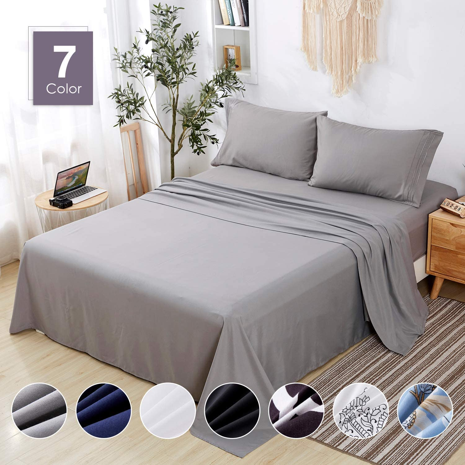 Agedate 4 Piece Brushed Microfiber Bed Sheets Set, Deep Pocket Bed Sheets King, Hypoallergenic, Easy to Care, Fade, Stain and Wrinkle Resistant, King Size, Grey
