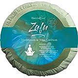 DreamTime Perfect Balance Zafu, Floor Meditation Pillow, Sage Velvet for Yoga, with Buckwheat Fill