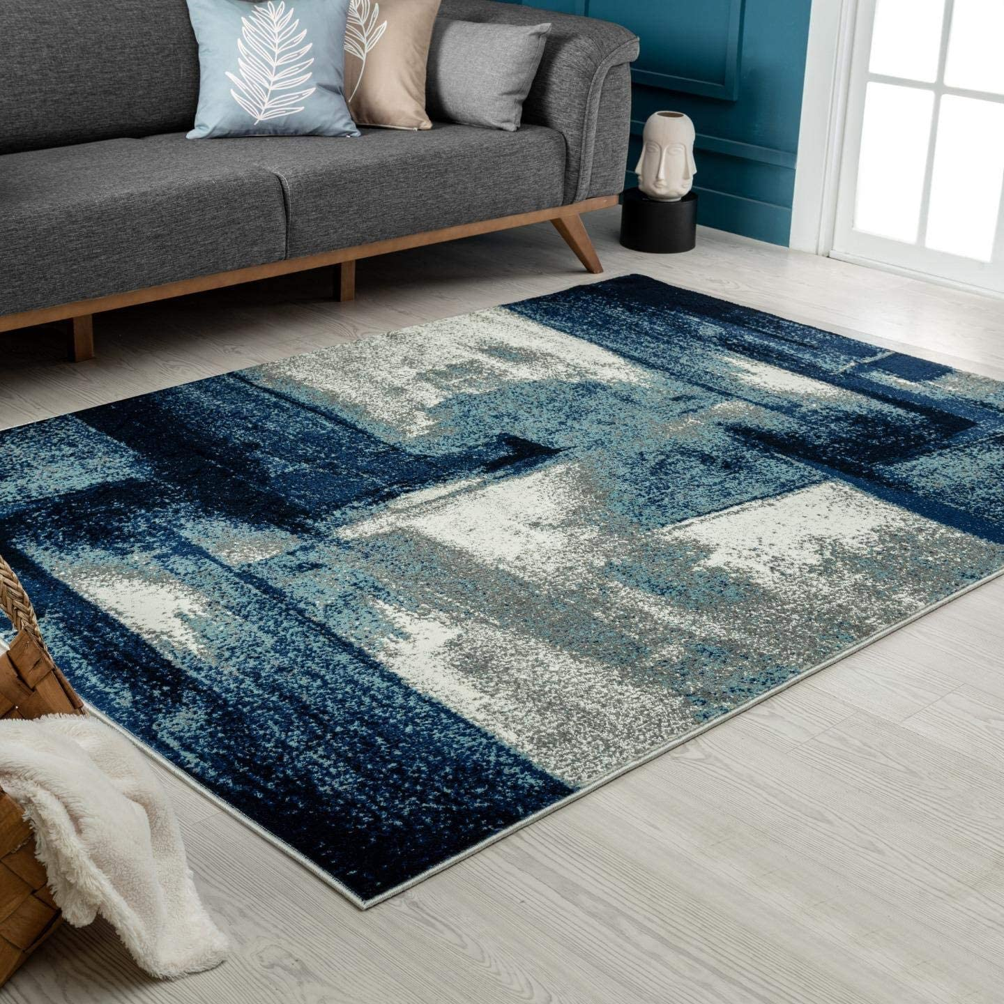 Luxe Weavers Lagos Collection 7558 Navy 9×12 Abstract Area Rug