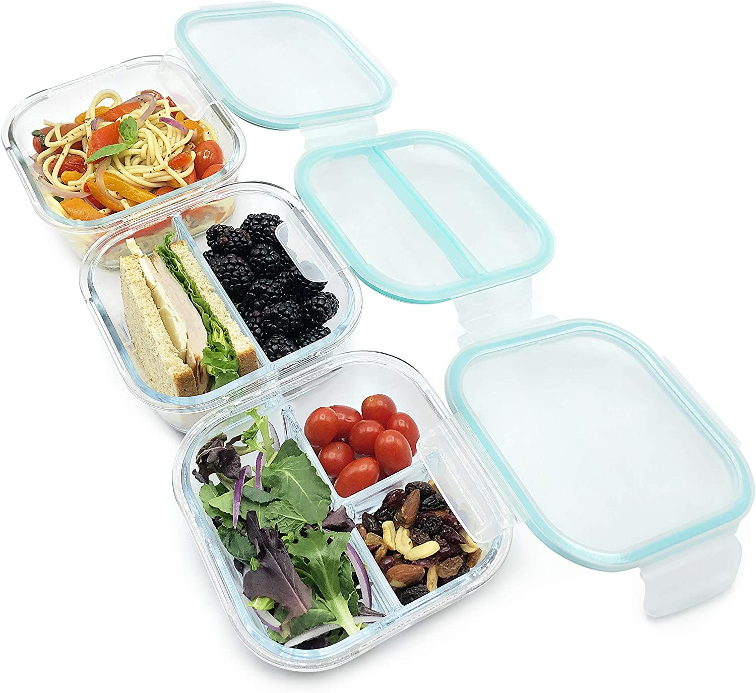 Glass Food Storage Containers with Lids | 1, 2, 3 Compartment, Meal Prep Container Set | BPA Free, Leak Proof | Square Shape, 27oz/800ml (3 pack)