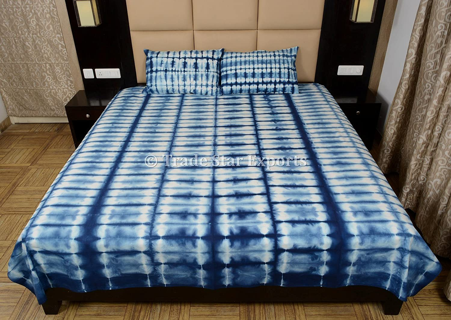 Amazon.com: Handmade Indigo Dyed Bedding Set, Shibori Bedspread With Shams,  Tie Dye Bed Cover With Pillow Cover, Indian Cotton Bed Sheet: Home U0026 Kitchen