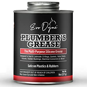Evo Dyne Silicone Grease (8oz), Made in USA - Silicone Paste - Multi-Purpose Silicone Lube for Faucet Stems, Valves, Cartridges - Silicone Lubricant Grease for Use on Metal and Rubber, Plumbers Grease