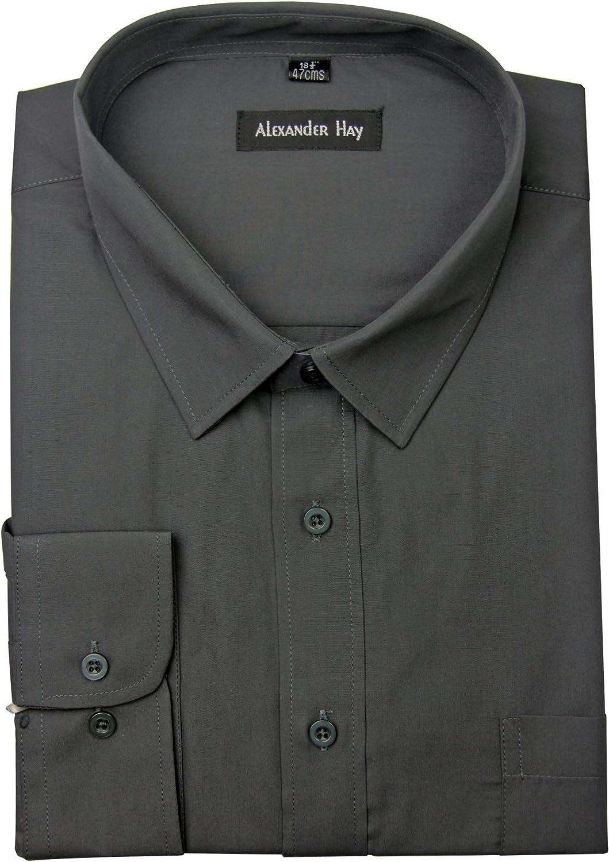 Camisa para hombre, de la marca Alexander Hay, lisa, de manga larga Gris gris oscuro 18: Amazon.es: Ropa y accesorios