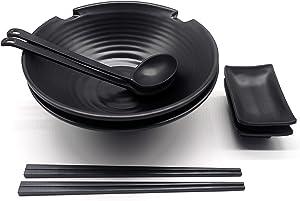 Museoda Ramen Bowl 8pcs Set | Chopsticks, Sauce Plate, Japanese Design Ramen Bowls and Spoons Set, Matte Black Melamine, Large (37 oz) Soup Bowls for Pho Bowls, Japanese Ramen, and Korean Noodles