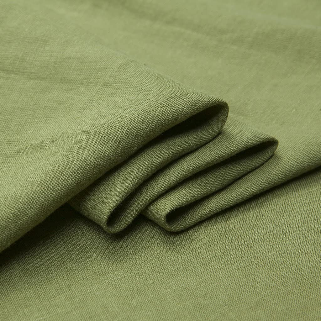"Japan Nature 100% Linen Fabric for Clothing, Home Decor, Pillow, Sofa, 56"" Width, Craft by The Yard, Green Color"