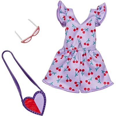 Barbie Complete Looks Doll Clothes, Outfit Dolls Featuring Purple Romper with Cherry Print and Cut-Out Plus 2 Accessories, Gift for 3 to 8 Year Olds: Toys & Games