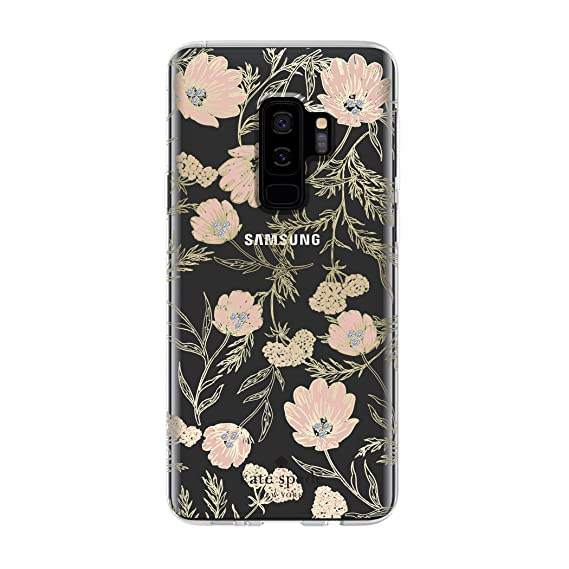 kate spade new york Protective Hardshell Case for Samsung Galaxy S9+ - Multi Blossom Pink / Clear / Gold with Stones