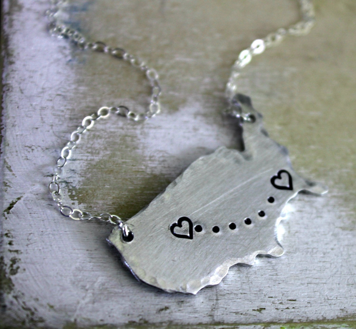 FREE SHIPPING. Hand Stamped Long Distance Necklace. United States Map by l. rae jewelry