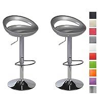 2x Sgabelli da bar in plastica regolabile in altezza con schienale girevole design elegante selezione colore Duhome 147