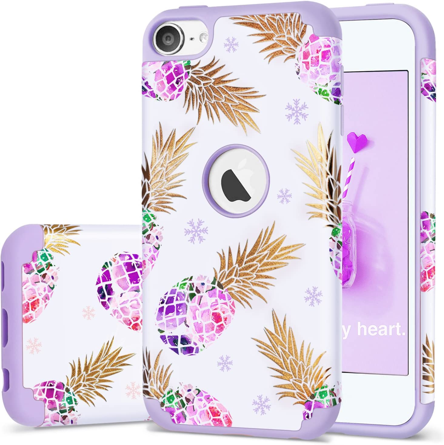 iPod Touch 5 Case,iPod 6 Pineapple Case,Fingic Floral Ultra Slim Case Hard PC Soft Silicone Protective Case Cover for Apple iPod Touch 5/6th Generation,Pineapple/Purple