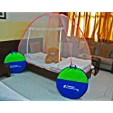 Classic Mosquito Net Classic Foldable Mosquito Net (Single Bed) with Free Saviours - (RED)