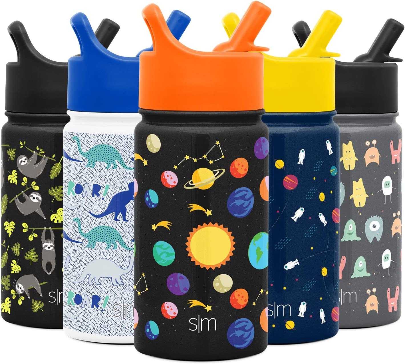 Simple Modern Summit Kids Water Bottle with Straw Lid - Wide Mouth Vacuum Insulated 18/8 Stainless Steel Powder Coated