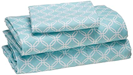 True North by Sleep Philosophy Cozy Flannel 100% Cotton Cute Warm Ultra Soft Cold Weather Sheet Set Bedding, Twin Size, Aqua Geo 3 Piece best twin-sized flannel sheets