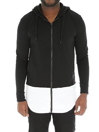Bleecker & Mercer Men's Color Block Longline Zip Up Hoodie T Shirt ...