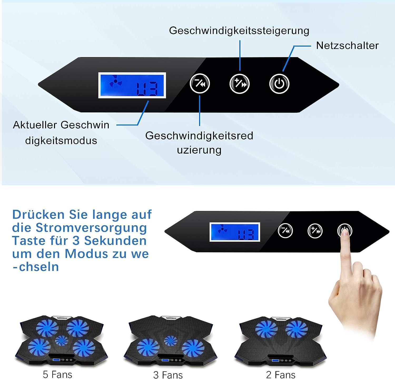 TopMate C7 Laptop-K/ühlkissen Bis zu 17,3 Zoll Gaming-Laptop-K/ühler 5 leise L/üfter mit blauen LED-Leuchten 2 USB-Anschl/üsse Ocean Blue Trim Design