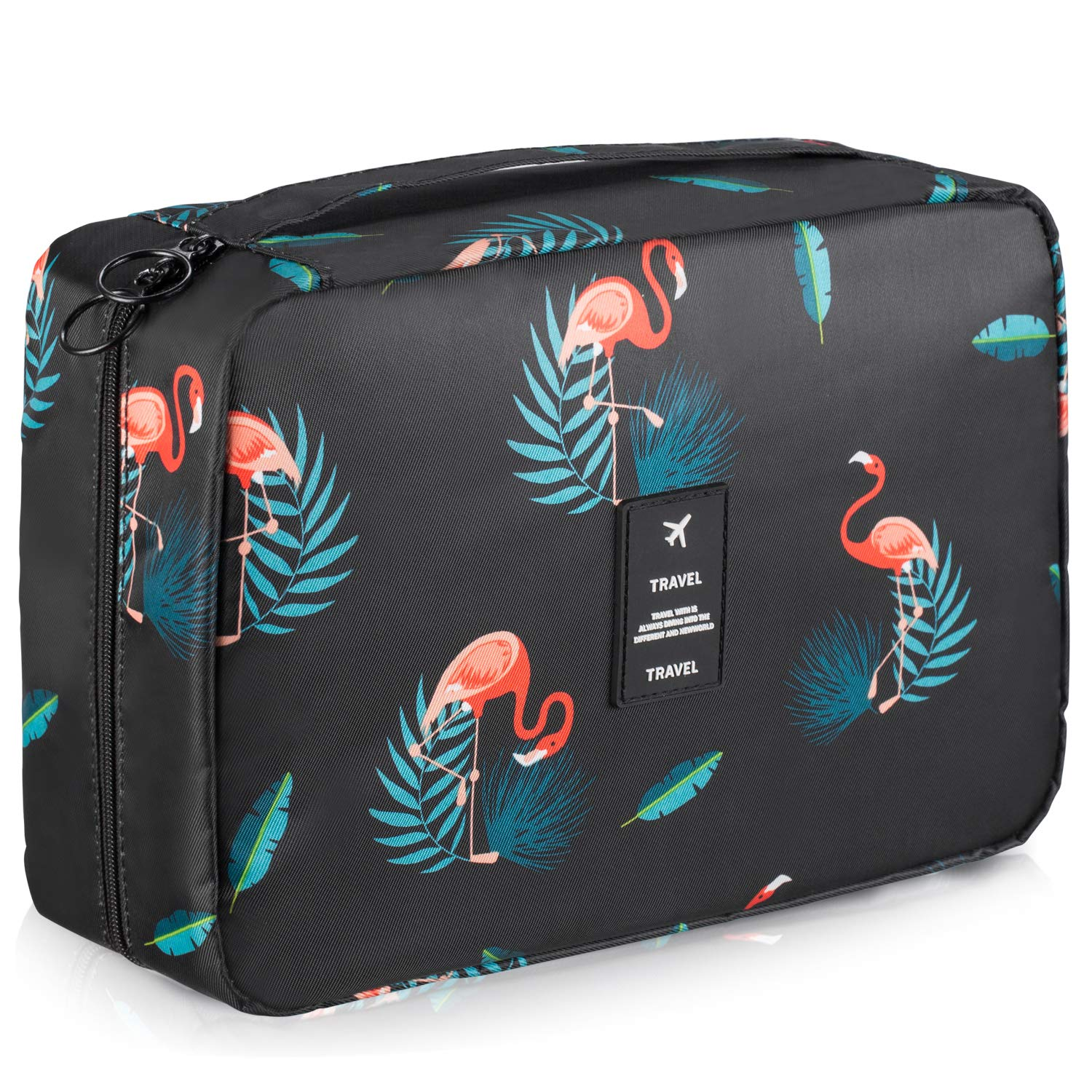 BOOEEN Travel Toiletry Bag, Waterproof Hanging Travel Bags, Toiletry Bag for Women and Girls Black