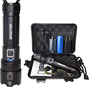 BRIGHTEK Rechargeable Tactical Flashlights, XHP70.2 LED Flashlight High Lumens 5000, Zoomable, Waterproof, with 26650 Battery USB Output, Powerful Handheld Flash Light Super Bright for Outdoor Camping