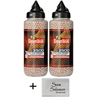 Crosman Copperhead 4.5mm Copper Coated BBS in EZ-Pour Bottle for BB Air Pistols and BB Air Rifles (2 Pack) w/Micro Sam Salamon Cloth