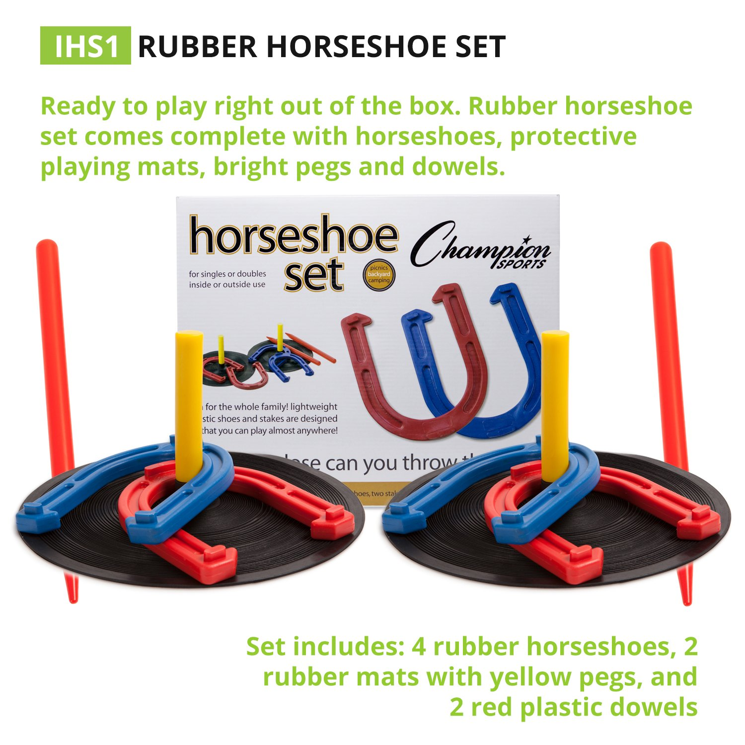 amazon com champion sports rubber horseshoe game for tailgating