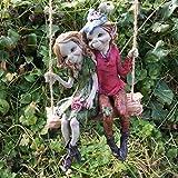 Pixie Pareja Colgante Swing, escultura Magical Mystery alta calidad Jardín Decoración Figuras Elfo & Fairy Niños, 12cm de altura